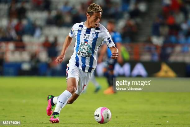Keisuke Honda of Pachuca drives the ball during the 14th round match between Pachuca and Puebla as part of the Torneo Apertura 2017 Liga MX at...