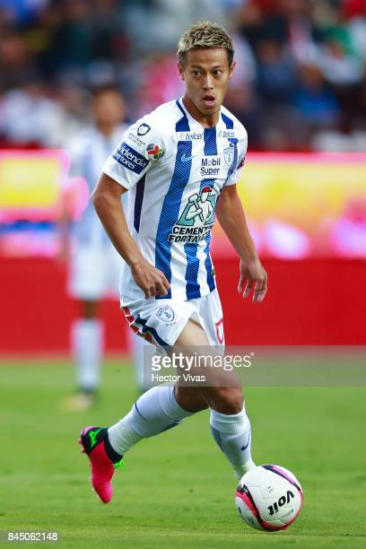 Keisuke Honda of Pachuca drives the ball during the 8th round match between Pachuca and Chivas as part of the Torneo Apertura 2017 Liga MX at Hidalgo...