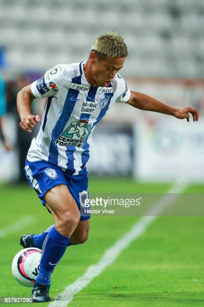 Keisuke Honda of Pachuca drives the ball during the sixth round match between Pachuca and Veracruz as part of the Torneo Apertura 2017 Liga MX at...