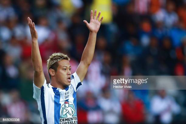 Keisuke Honda of Pachuca gestures during the 8th round match between Pachuca and Chivas as part of the Torneo Apertura 2017 Liga MX at Hidalgo...
