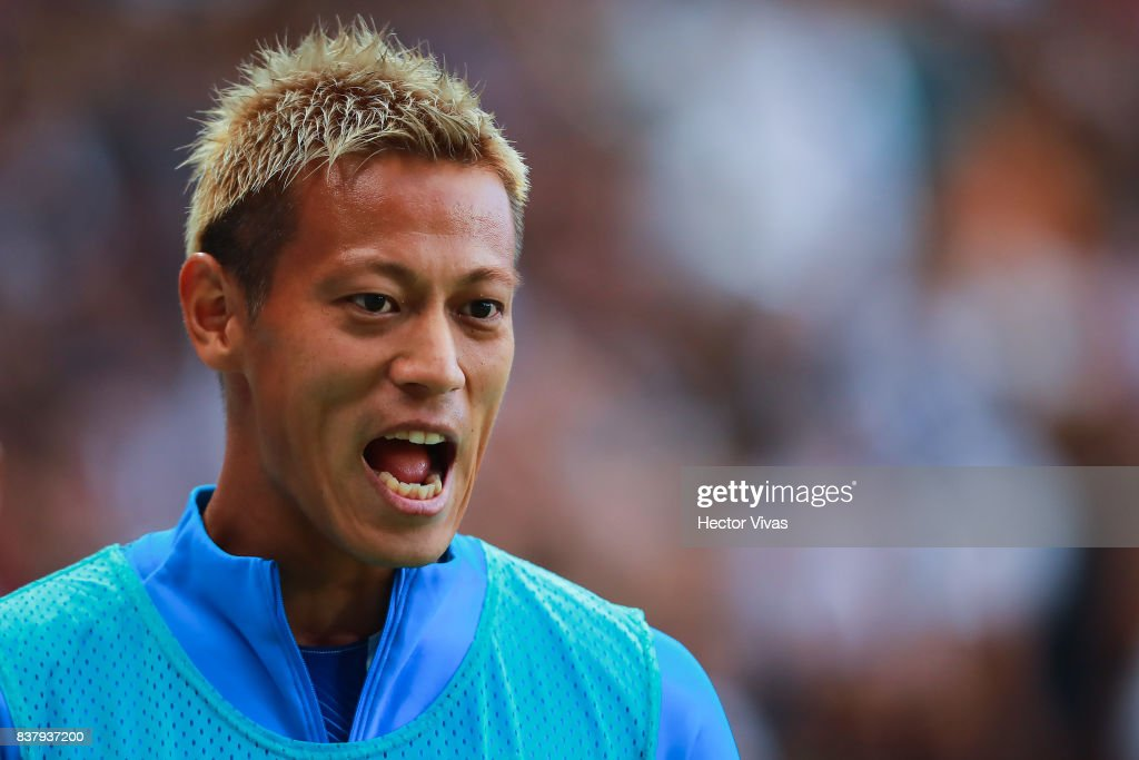 Keisuke Honda of Pachuca gestures during the sixth round match between Pachuca and Veracruz as part of the Torneo Apertura 2017 Liga MX at Hidalgo Stadium on August 22, 2017 in Pachuca, Mexico.