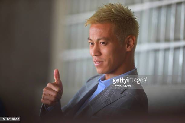 Keisuke Honda of Pachuca gestures prior the 1st round match between Pumas UNAM and Pachuca as part of the Torneo Apertura 2017 Liga MX at Olimpico...