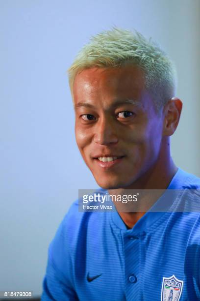 Keisuke Honda of Pachuca looks on during a press conference to unveil Pachuca's new signings at Universidad del Futbol y Ciencias del Deporte on July...