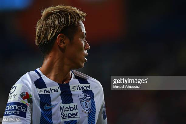 Keisuke Honda of Pachuca looks on during the 14th round match between Pachuca and Puebla as part of the Torneo Apertura 2017 Liga MX at Hidalgo...