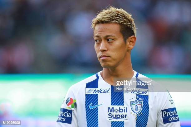 Keisuke Honda of Pachuca looks on during the 8th round match between Pachuca and Chivas as part of the Torneo Apertura 2017 Liga MX at Hidalgo...