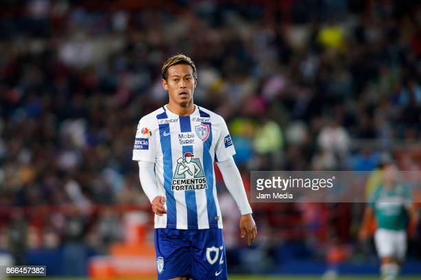 Keisuke Honda of Pachuca looks on during the round of sixteen match between Pachuca and Zacatepec as part of the Copa MX Apertura 2017 at Hidalgo...