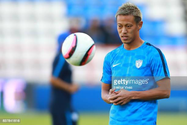 Keisuke Honda of Pachuca looks the ball prior the sixth round match between Pachuca and Veracruz as part of the Torneo Apertura 2017 Liga MX at...