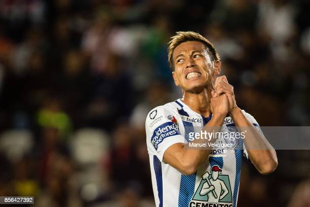 Keisuke Honda of Pachuca reacts after missing a chance to score during the 12th round match between Pachuca and Necaxa as part of the Torneo Apertura...