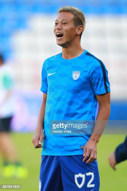 Keisuke Honda of Pachuca smiles prior the sixth round match between Pachuca and Veracruz as part of the Torneo Apertura 2017 Liga MX at Hidalgo...