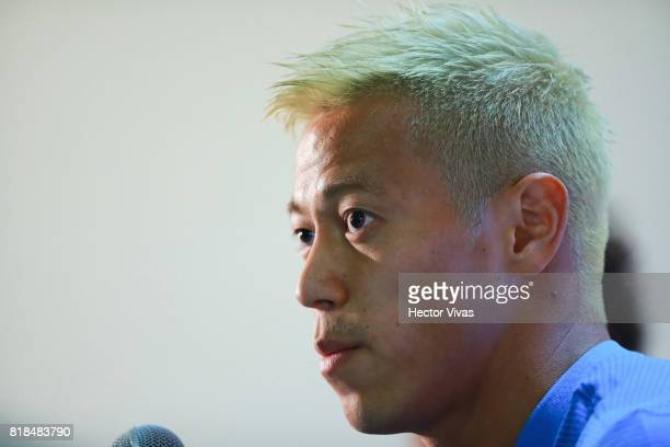 Keisuke Honda of Pachuca speaks during a press conference to unveil Keisuke Honda as new player of Pachuca at Hidalgo Stadium on July 18 2017 in...