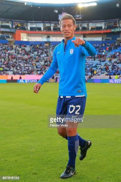 Keisuke Honda of Pachuca walks onto the field prior the sixth round match between Pachuca and Veracruz as part of the Torneo Apertura 2017 Liga MX at...