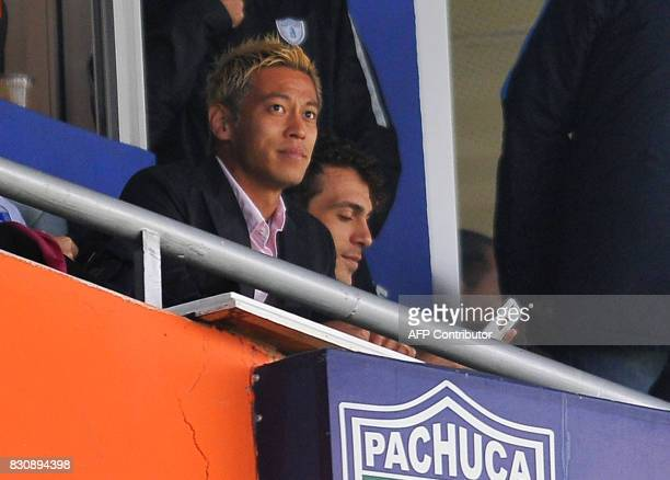 Keisuke Honda of Pachuca watches the match against Tigres during their Mexican Apertura 2017 Tournament football match at Hidalgo stadium on August...