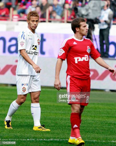 Keisuke Honda of PFC CSKA Moscow during the Russian Football League Championship match between FC Lokomotiv Moscow and PFC CSKA Moscow at the...