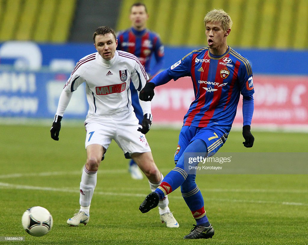 <a gi-track='captionPersonalityLinkClicked' href=/galleries/search?phrase=Keisuke+Honda&family=editorial&specificpeople=2333022 ng-click='$event.stopPropagation()'>Keisuke Honda</a> of PFC CSKA Moscow in action during the Russian Premier League match between PFC CSKA Moscow and FC Mordovia Saransk at the Luzhniki Stadium on December 09, 2012 in Moscow, Russia.