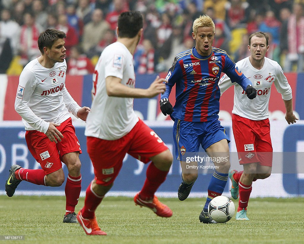 Keisuke Honda of PFC CSKA Moscow in action during the Russian Premier League match between PFC CSKA Moscow and FC Spartak Moscow at the Luzhniki Stadium on April 21, 2013 in Moscow, Russia.