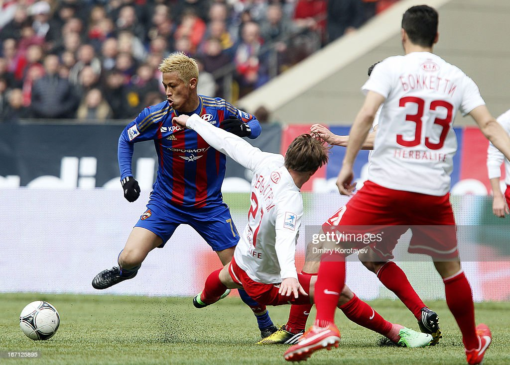 <a gi-track='captionPersonalityLinkClicked' href=/galleries/search?phrase=Keisuke+Honda&family=editorial&specificpeople=2333022 ng-click='$event.stopPropagation()'>Keisuke Honda</a> of PFC CSKA Moscow in action during the Russian Premier League match between PFC CSKA Moscow and FC Spartak Moscow at the Luzhniki Stadium on April 21, 2013 in Moscow, Russia.