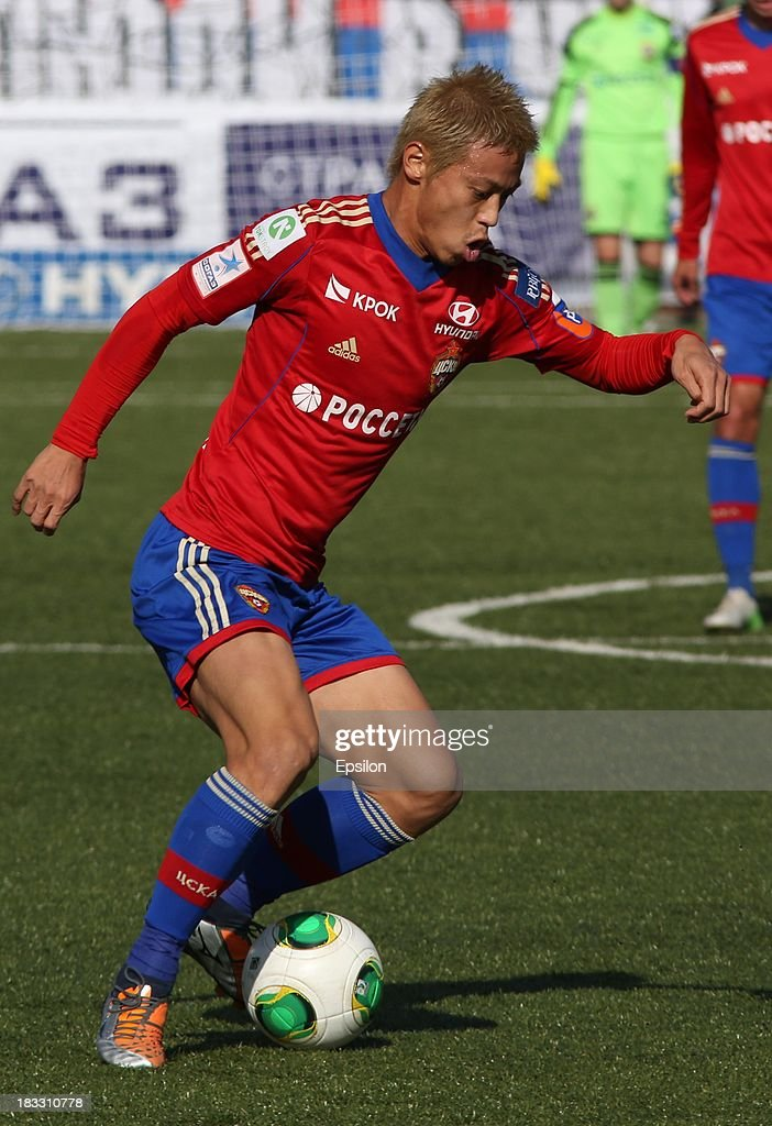 <a gi-track='captionPersonalityLinkClicked' href=/galleries/search?phrase=Keisuke+Honda&family=editorial&specificpeople=2333022 ng-click='$event.stopPropagation()'>Keisuke Honda</a> of PFC CSKA Moscow in action during the Russian Premier League match between PFC CSKA Moscow and FC Dinamo Moscow on October 6, 2013 in Moscow, Russia.