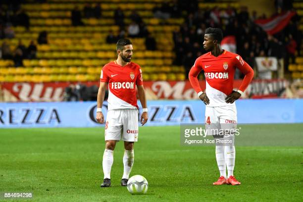 Keita Balde and Joao Moutinho of Monaco during the Ligue 1 match between AS Monaco and Angers SCO at Stade Louis II on December 2 2017 in Monaco