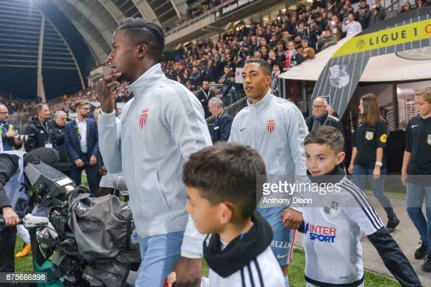 Keita Balde and Youri Tielemans of Monaco during the Ligue 1 match between Amiens SC and AS Monaco at Stade de la Licorne on November 17 2017 in...