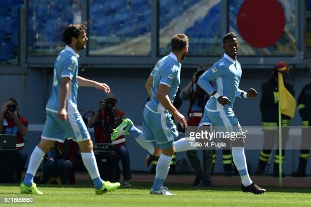 Keita Balde Diao of Lazio celebrates after scoring a goal during the Serie A match between SS Lazio and US Citta di Palermo at Stadio Olimpico on...
