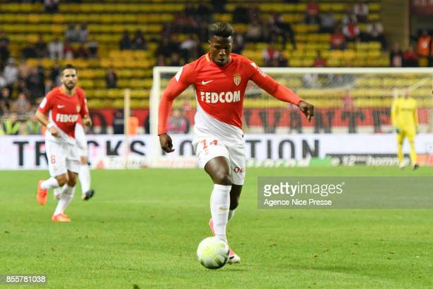 Keita Balde of Monaco and Facundo Piriz Gonzalez of Montpellier during the Ligue 1 match between AS Monaco and Montpellier Herault SC at Stade Louis...