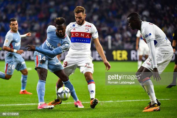Keita Balde of Monaco and Lucas Tousard of Lyon during the Ligue 1 match between Olympique Lyonnais and AS Monaco at Stade des Lumieres on October 13...