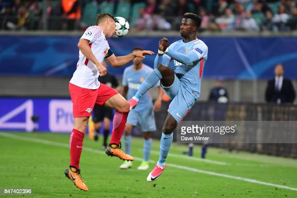 Keita Balde of Monaco and Lukas Klostermann of Leipzig during the Uefa Champions League match between RB Leipzig and AS Monaco at Red Bull Arena on...