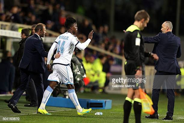 Keita Balde of SS Lazio celebrates after scoring a goal during the Serie A match between ACF Fiorentina and SS Lazio at Stadio Artemio Franchi on...