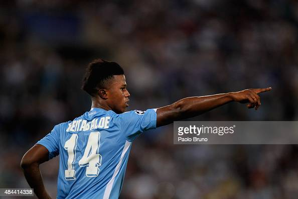 Keita Balde of SS Lazio celebrates after scoring the opening goal during the UEFA Champions League qualifying round play off first leg match between...