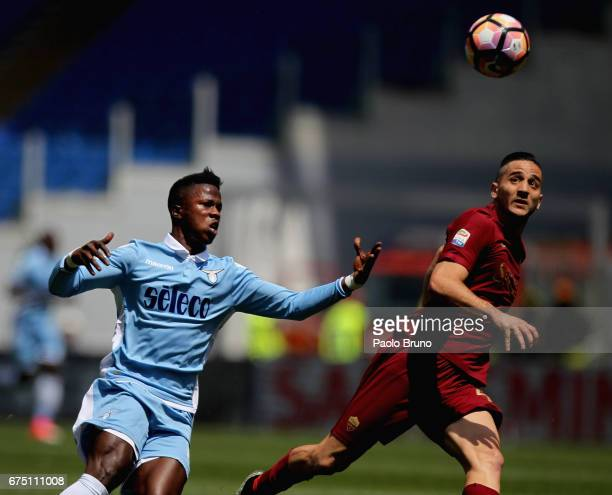Keita Balde of SS Lazio competes for the ball with Kostas Manolas of AS Roma during the Serie A match between AS Roma and SS Lazio at Stadio Olimpico...