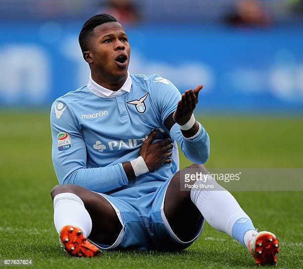 Keita Balde of SS Lazio reacts during the Serie A match between SS Lazio and AS Roma at Stadio Olimpico on December 4 2016 in Rome Italy