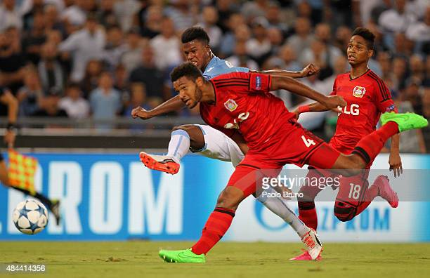 Keita Balde of SS Lazio scores the opening goal during the UEFA Champions League qualifying round play off first leg match between SS Lazio and Bayer...