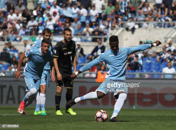 Keita Balde of SS Lazio scores the team's fourth goal from penalty spot during the Serie A match between SS Lazio and US Citta di Palermo at Stadio...