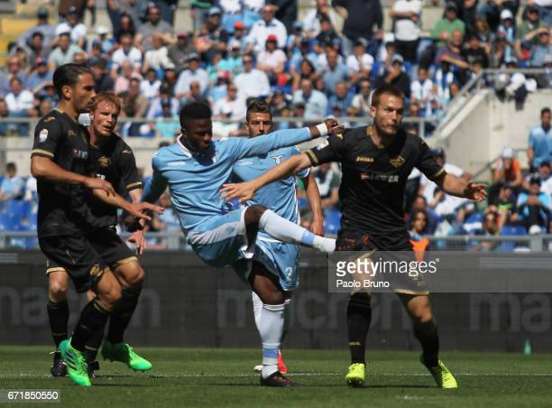 Keita Balde of SS Lazio scores the team's third goal during the Serie A match between SS Lazio and US Citta di Palermo at Stadio Olimpico on April 23...