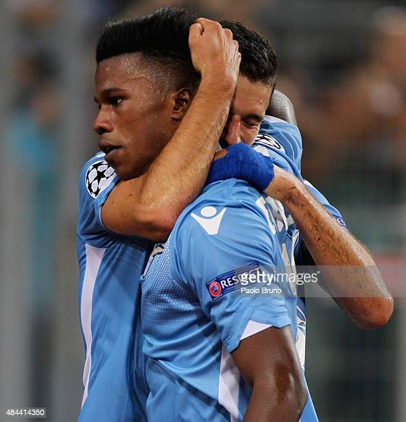 Keita Balde with his teammate Antonio Candreva of SS Lazio celebrates after scoring the opening goal during the UEFA Champions League qualifying...