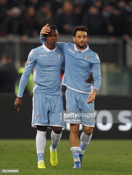 Keita Balde with his teammate Felipe Anderson of SS Lazio celebrates after scoring the team's second goal during the Serie A match between SS Lazio...