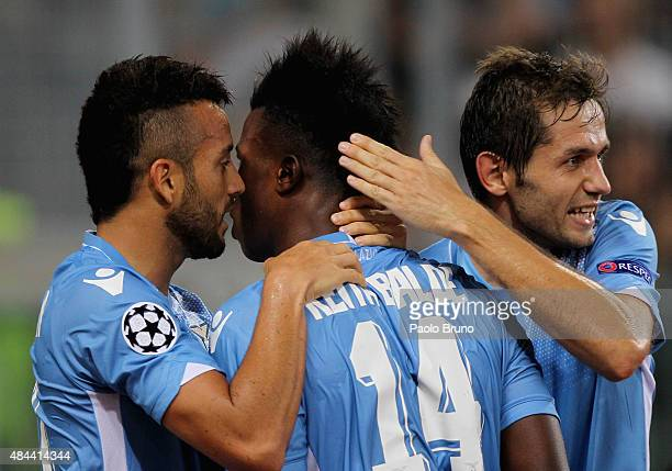Keita Balde with his teammates of SS Lazio celebrates after scoring the opening goal during the UEFA Champions League qualifying round play off first...