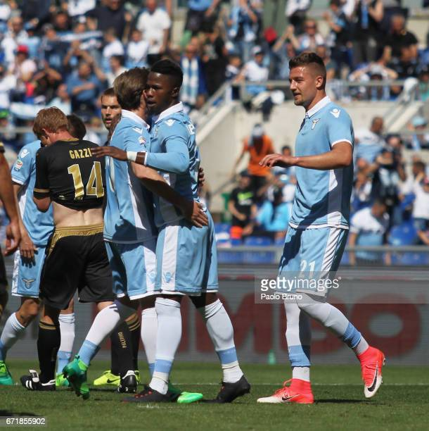 Keita Balde with his teammatesof SS Lazio celebrates after scoring the team's fourth goal from penalty spot during the Serie A match between SS Lazio...