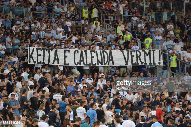 Keita e Calenda banner during the Italian Serie A football match SS Lazio vs Spal at the Olympic Stadium in Rome august on 20 2017