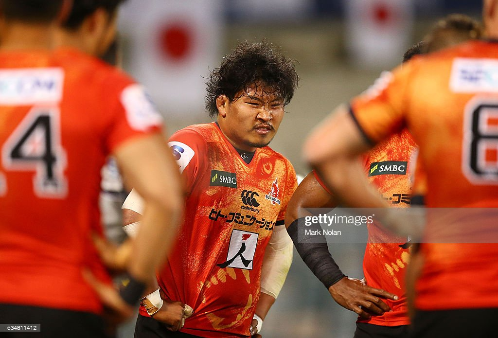 <a gi-track='captionPersonalityLinkClicked' href=/galleries/search?phrase=Keita+Inagaki&family=editorial&specificpeople=15041563 ng-click='$event.stopPropagation()'>Keita Inagaki</a> of the Sunwolves is pictured after a Brumbies try during the round 14 Super Rugby match between the Brumbies and the Sunwolves at GIO Stadium on May 28, 2016 in Canberra, Australia.
