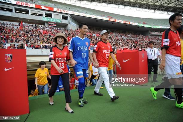 Keita Suzuki leads the team prior to the Keita Suzuki testimonial match between Reds Legends and Blue Friends at Saitama Stadium on July 17 2017 in...