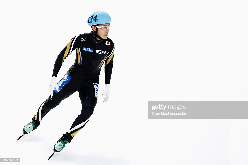 Keita Watanabe of Japan looks on after he competes in the mens 1500m Heat during ISU Short Track Speed Skating World Cup held at The Sportboulevard on February 12, 2016 in Dordrecht, Netherlands.