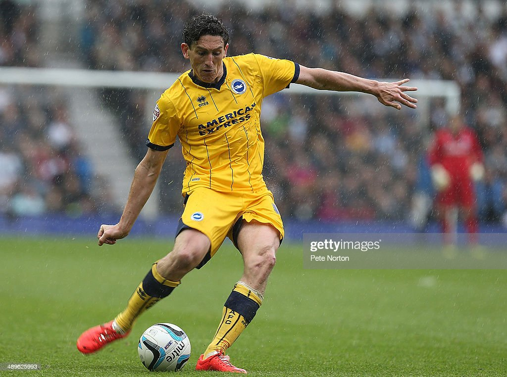 Keith Andrews of Brighton & Hove Albion in action during the Sky Bet Championship Semi Final Second Leg between Derby County and Brighton & Hove Albion at iPro Stadium on May 11, 2014 in Derby, England.