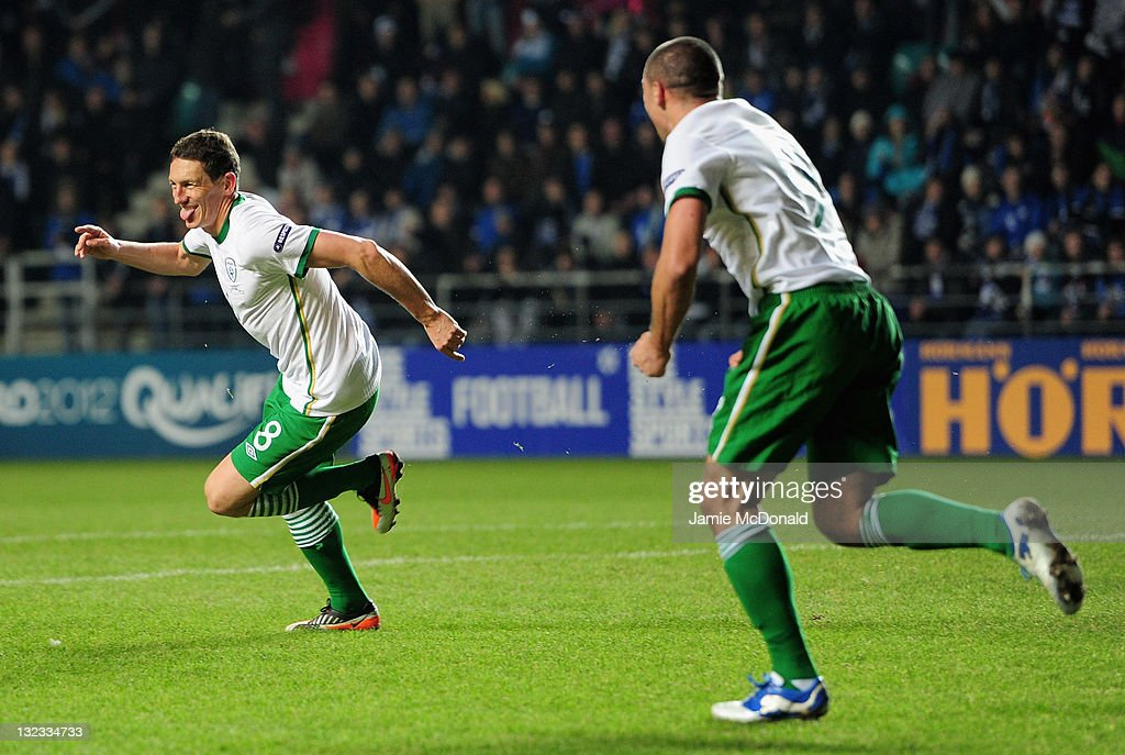 <a gi-track='captionPersonalityLinkClicked' href=/galleries/search?phrase=Keith+Andrews&family=editorial&specificpeople=661603 ng-click='$event.stopPropagation()'>Keith Andrews</a> of Republic of Ireland celebrates his goal during the Estonia and Republic of Ireland, EURO 2012 qualifier, play off first leg at the A Le Coq Arena on November 11, 2011 in Tallinn, Estonia.