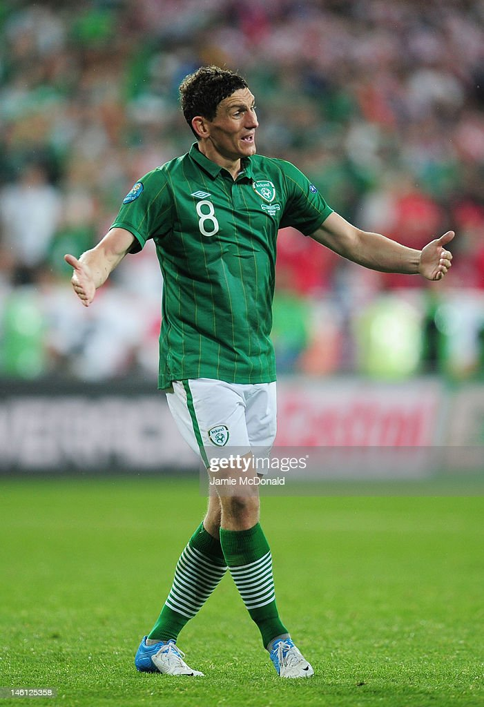 <a gi-track='captionPersonalityLinkClicked' href=/galleries/search?phrase=Keith+Andrews&family=editorial&specificpeople=661603 ng-click='$event.stopPropagation()'>Keith Andrews</a> of Republic of Ireland reacts during the UEFA EURO 2012 group C between Ireland and Croatia at The Municipal Stadium on June 10, 2012 in Poznan, Poland.