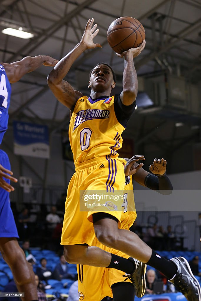 Keith Appling of the Los Angeles Defenders shoots a layup against the Delaware 87ers during the NBA DLeague Showcase game on January 18 2015 at...