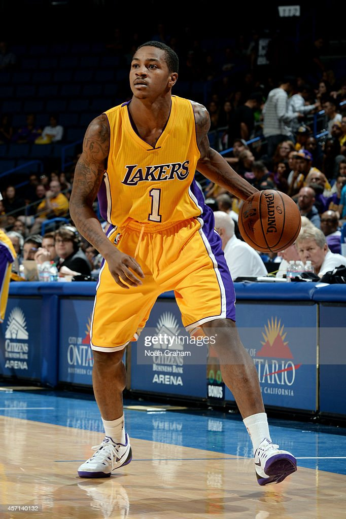 Keith Appling of the Los Angeles Lakers handles the ball during the game against the Golden State Warriors on October 12 2014 at Citizens Business...