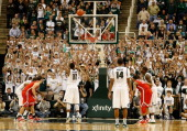 Keith Appling of the Michigan State Spartans makes a late free throw during action against the Ohio State Buckeyes at the Jack Breslin Center on...