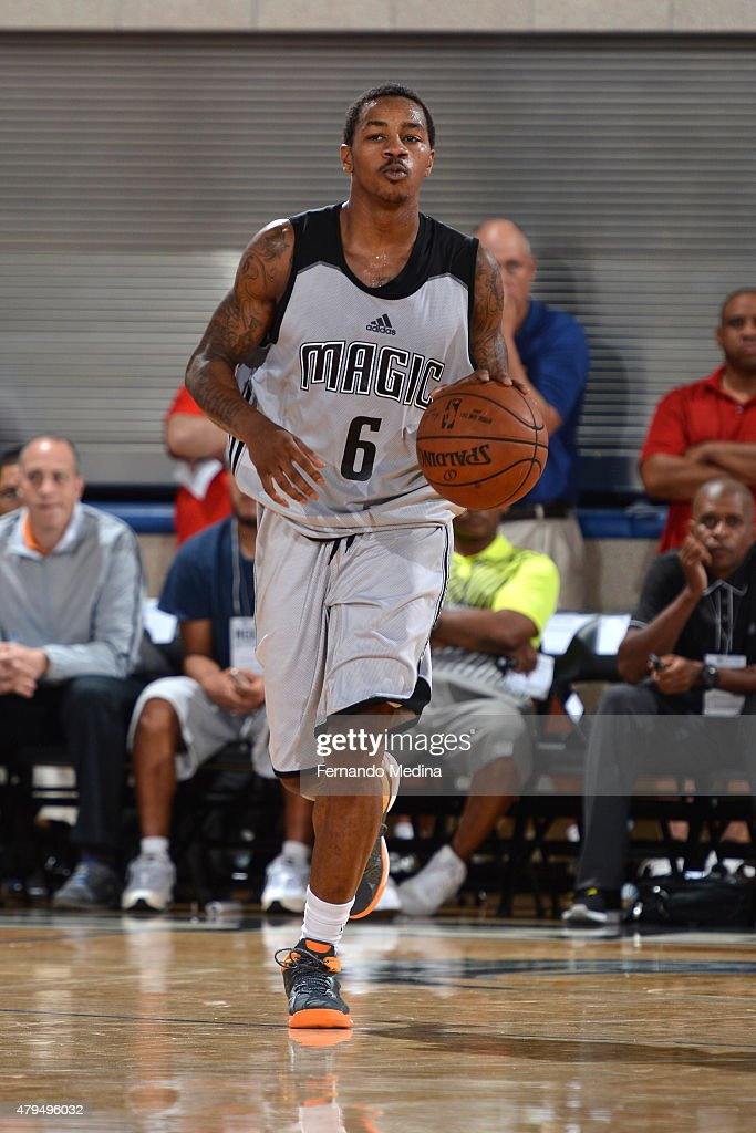 Keith Appling of the Orlando Magic brings the ball up court against the Detroit Pistons on July 4 2015 at Amway Center in Orlando Florida NOTE TO...