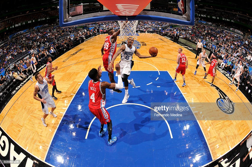 Keith Appling of the Orlando Magic goes for the dunk against the Philadelphia 76ers during the game on January 20 2016 at Amway Center in Orlando...